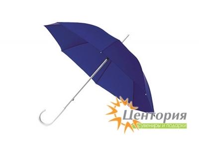 Зонт-трость с алюминиевой изогнутой ручкой, цвет синий