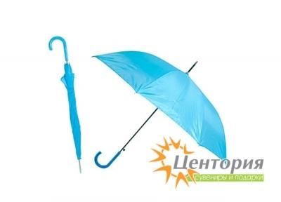Зонт-трость с цветной пластиковой изогнутой ручкой, цвет светло-голубой