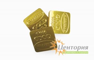 Золотые шоколадные слитки с логотипом