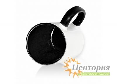 Кружка керамическая для сублимации, цветная внутри с цветной ручкой, черный цвет