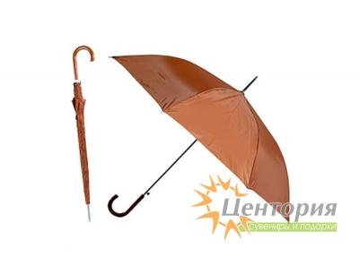 Зонт-трость с цветной пластиковой изогнутой ручкой, цвет коричневый