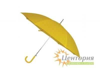 Зонт-трость с цветной пластиковой изогнутой ручкой, цвет желтый
