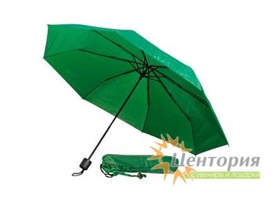 Зонт механический складной в чехле, с пластиковой ручкой, цвет зеленый