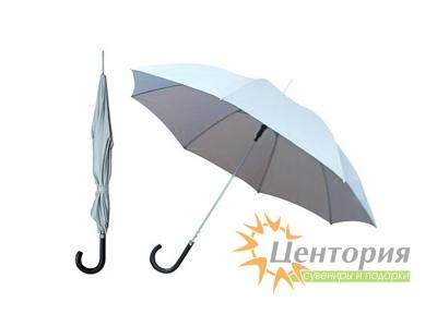 Зонт-трость полуавтоматический с чёрной изогнутой кожаной ручкой, цвет серебристый