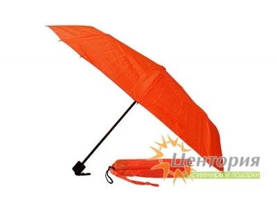 Зонт механический складной в чехле, с пластиковой ручкой, цвет красный