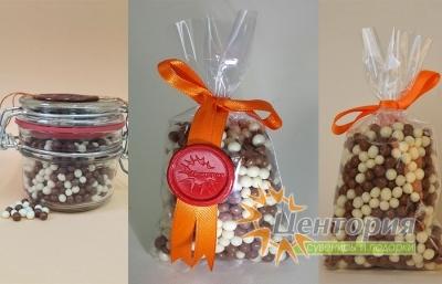 Шоколадная икра. Микс из белого и молочного Шоколада. 60 грамм