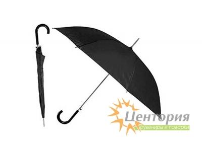 Зонт-трость с цветной пластиковой изогнутой ручкой, цвет черный