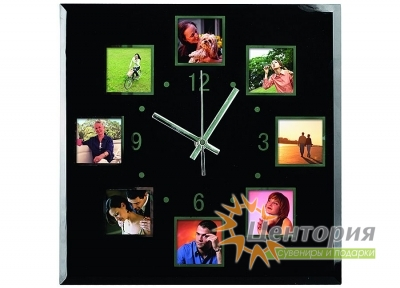 Часы/Настенные часы с 8 рамками для фотографий