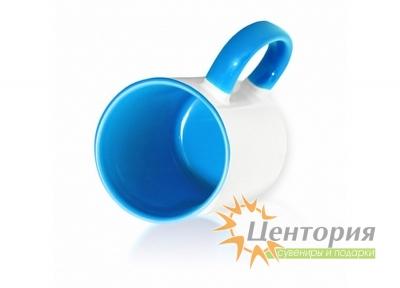 Кружка керамическая для сублимации, цветная внутри с цветной ручкой, голубой цвет