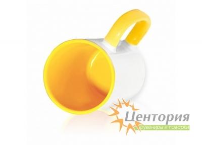 Кружка керамическая для сублимации, цветная внутри с цветной ручкой, желтый цвет