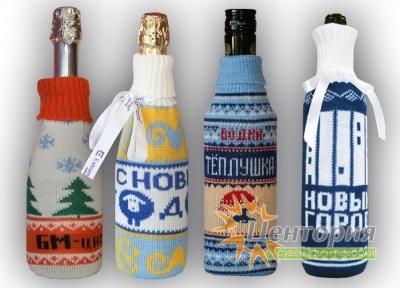 Вязаный чехол на бутылку