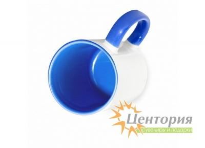 Кружка керамическая для сублимации, цветная внутри с цветной ручкой, синий цвет