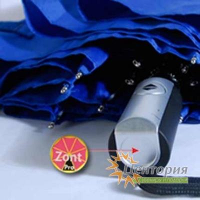 Зонт складной втоматический, c пластиковой прорезиненной ручкой, цвет синий