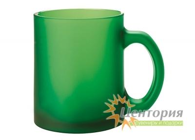 Кружка стеклянная матовая для сублимации, цвет зеленый