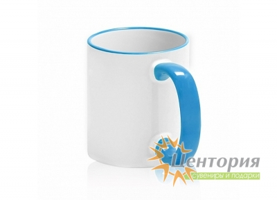 Кружка керамическая для сублимации, с цветной ручкой и каемкой, цвет голубой