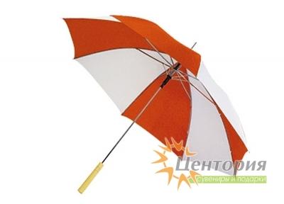 Зонт-трость с деревянной прямой ручкой, с двухцветным клином, цвет белый с бордовым