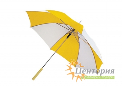 Зонт-трость с деревянной прямой ручкой, с двухцветным клином, цвет белый с зеленым