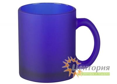 Кружка стеклянная матовая для сублимации, цвет синий
