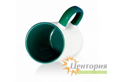 Кружка керамическая для сублимации, цветная внутри с цветной ручкой, темно-зеленый цвет