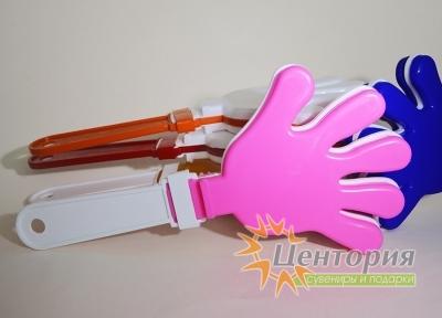 Ладошки-трещотки белые с розовым
