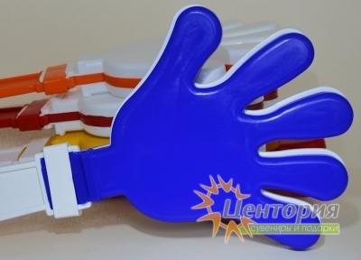 Ладошки-трещотки белые с синим