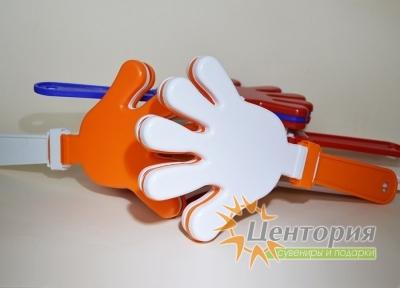 Ладошки-трещотки оранжевые с белым