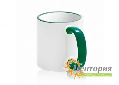 Кружка керамическая для сублимации, с цветной ручкой и каемкой, цвет зеленый