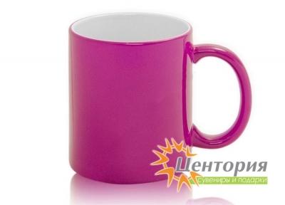 Кружка керамическая хамелеон для сублимации, цвет розовый