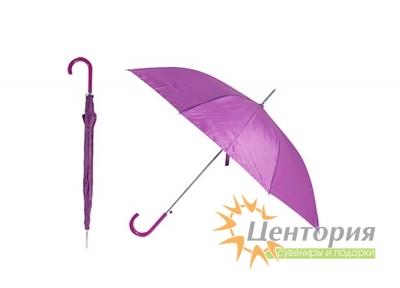 Зонт-трость с цветной пластиковой изогнутой ручкой, цвет лиловый