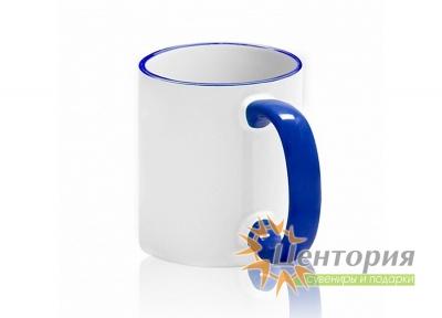 Кружка керамическая для сублимации, с цветной ручкой и каемкой, цвет синий