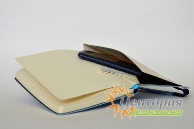 Ежедневник А5 с кожаный шильдом на резинке