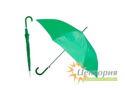 Зонт-трость с цветной пластиковой изогнутой ручкой, цвет зеленый
