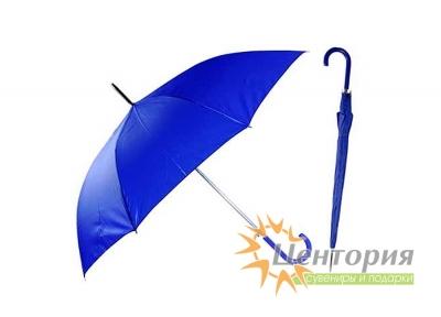 Зонт-трость с цветной пластиковой изогнутой ручкой, цвет синий