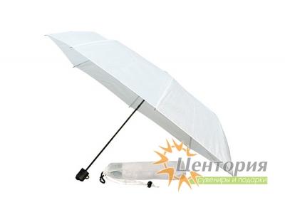 Зонт механический складной в чехле, с пластиковой ручкой, цвет белый