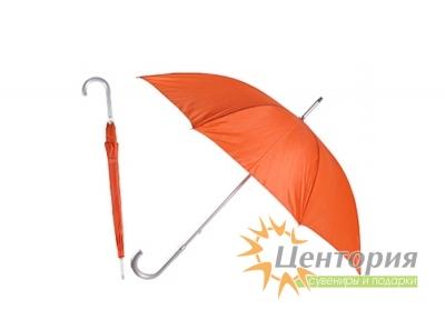 Зонт-трость с алюминиевой изогнутой ручкой, цвет красный