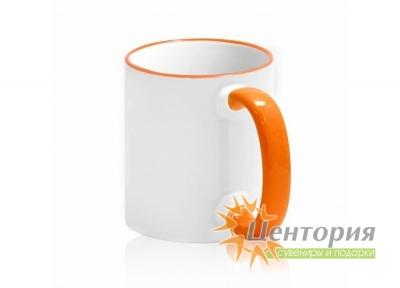 Кружка керамическая для сублимации, с цветной ручкой и каемкой, цвет оранжевый