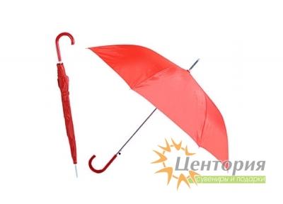 Зонт-трость с цветной пластиковой изогнутой ручкой, цвет красный