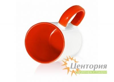 Кружка керамическая для сублимации, цветная внутри с цветной ручкой, красный цвет