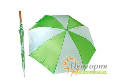 Зонт-трость с деревянной прямой ручкой, с двухцветным клином, цвет белый с желтым
