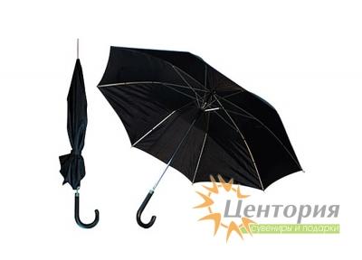 Зонт-трость полуавтоматический с чёрной изогнутой кожаной ручкой, цвет чёрный