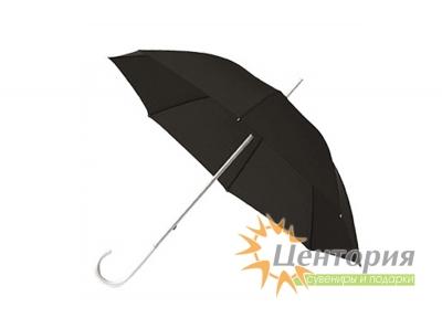 Зонт-трость с алюминиевой изогнутой ручкой, цвет черный