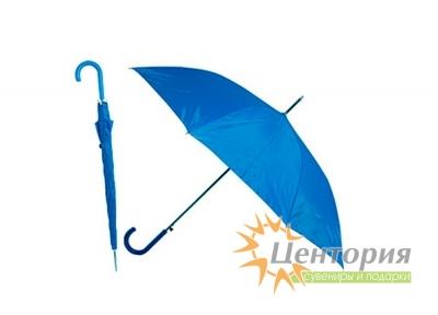 Зонт-трость с цветной пластиковой изогнутой ручкой, цвет голубой