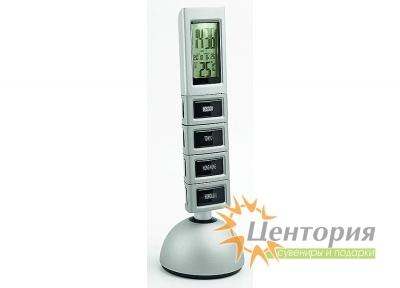 Погодная станция: часы с «мировым временем», термометр, дата, подсветка