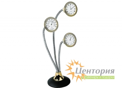 Погодная станция: часы, термометр, гигрометр на гибких шнурах
