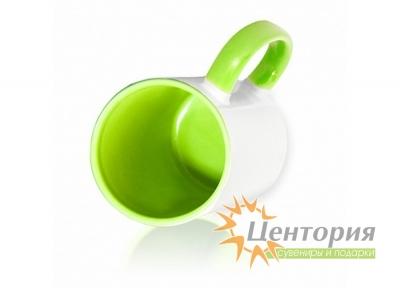 Кружка керамическая для сублимации, цветная внутри с цветной ручкой, зеленый цвет