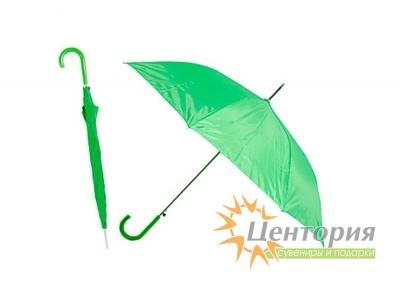 Зонт-трость с цветной пластиковой изогнутой ручкой, цвет светло-зеленый