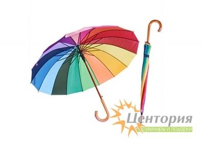 Зонт-трость Rainbow с деревянной изогнутой ручкой
