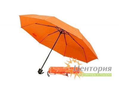 Зонт механический складной в чехле, с пластиковой ручкой, цвет оранжевый