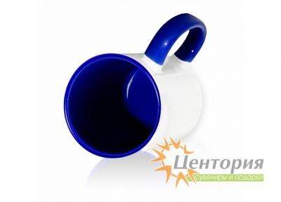 Кружка керамическая для сублимации, цветная внутри с цветной ручкой, темно-синий цвет