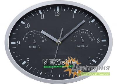 Часы настенные, INSERT3 с термометром и гигрометром, черные
